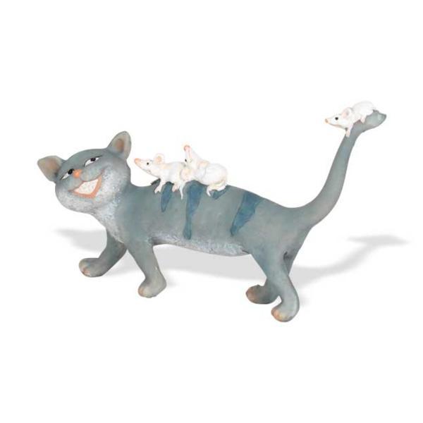 """Seyko ... Keramikfigur /""""Katze Miou/"""" laufend mit Mäusen 10 cm"""